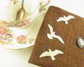 Tea Bag Wallet Russet Brown with Cream Birds and Heart Button