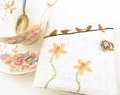 Tea Bag Wallet Brown Birdies on a Wire with Peach Flowers