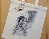 Bittersweet Angel Wings Heaven Bird Art Tote Bag Beautiful Fantasy Girl Zindy Nielsen