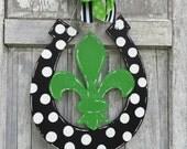 Fleur de Lis  door hanger, horseshoe door hanger, Kentucky Door hanger, Horseshoe sign, Monogram Horseshoe door hanger