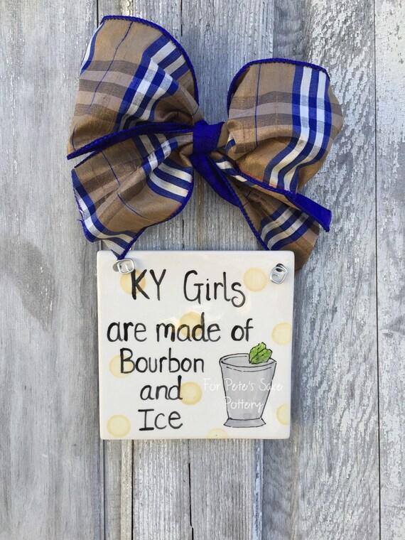 Kentucky girl  hanging tile, KY theme trivet, Derby decoration, Kentucky Bourbon gift, Kentucky girls tile, KY girls and pearls tile