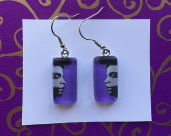 Tribute to Prince Rogers Nelson: Rectangle earrings with Prince face on purple background - glass cabochon