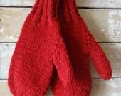 Vintage Children's Mittens  Adorable Red