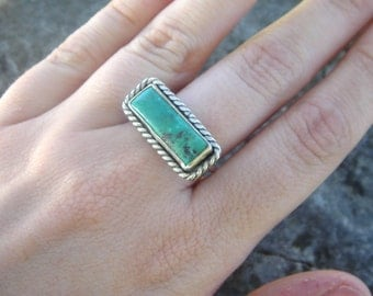 Turquoise Rectangle Ring - Size 6.5 | Sterling Silver turquoise ring | Simple turquoise ring | southwestern ring | stacking ring