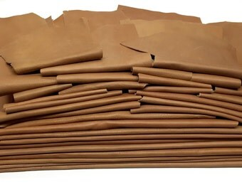25 Scrap Leather Remnants Lot Tan Brown Italian Leather Cowhide Scraps
