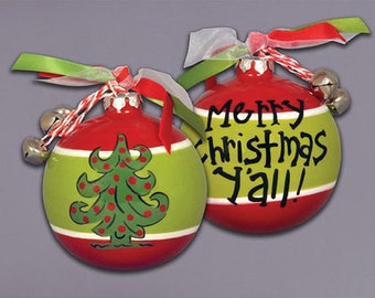 Merry Christmas Y'all Christmas tree Ceramic Ball ornament with ribbons & bells attachments