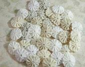 "Miniature Fabric YoYos, Cream, White And Beige, 1"" Size"