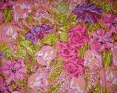 "Large Floral Print Upholstery Or Drapery Fabric By Choma Textiles ""Garden"" Pattern,  1-1/3 Yards"