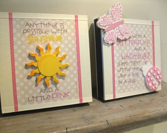 WALL ART SET-Sunshine and a little Pink  and Sometimes being a sister is better than a princess
