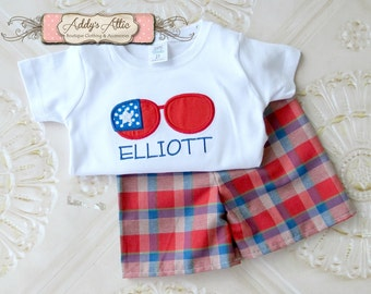 Boys 4th of July Outfit, Boys Summer Outfit, Plaid Shorts, Applique Outfit, Toddler Boys Outfit, Sunglasses Shirt