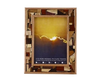 """Wooden Mosaic Picture Frame - Wall Art -  Decorative Picture Frame - 5 x 7"""" - For Wall or Table"""