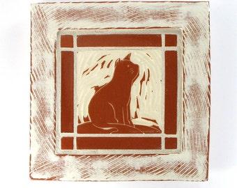 Cat tile in a white and terra-cotta mosaic tile frame, handmade tile, mosaic art