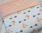 Baby Blanket - Minky Blanket - Girls Baby Blanket - White Coral Blanket - Tribal Baby Blanket - Arrow Baby Bedding - Baby Shower Gift