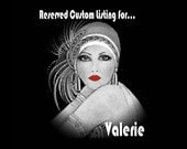 RESERVED FOR VALERIE - Custom Black Mystique Gatsby Headband & Black Fan With Crystal Applique And Silver Beaded Tassel