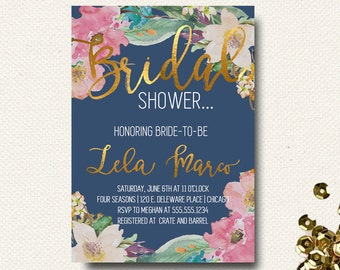 Bridal Shower Invitation Navy Blue Floral Gold Indigo Blue Watercolor
