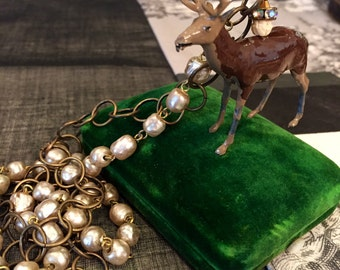 Tiny Dancer Toy Lead Deer Ooak Vintage Miriam Haskell Pearl Necklace