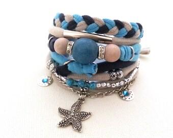 Multistrand Bracelet Sand Sky Navy, Multi Strand Jewelry, Marine Accessories, Beach Bracelet Sea Star Charm, Boho Blue Beige Bracelet