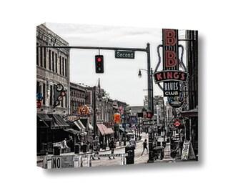 Large Canvas Wall Art Decor Beale Street Memphis Tennessee Street Scene