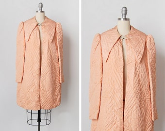 vintage 1930s jacket / hand quilted coat / 30s silk faille / Boudoir Rose jacket