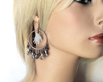 Buddha earrings unique Buddha jewelry unusual Buddha hoop earrings with charms  Buddhist jewelry gypsy buddha earrings