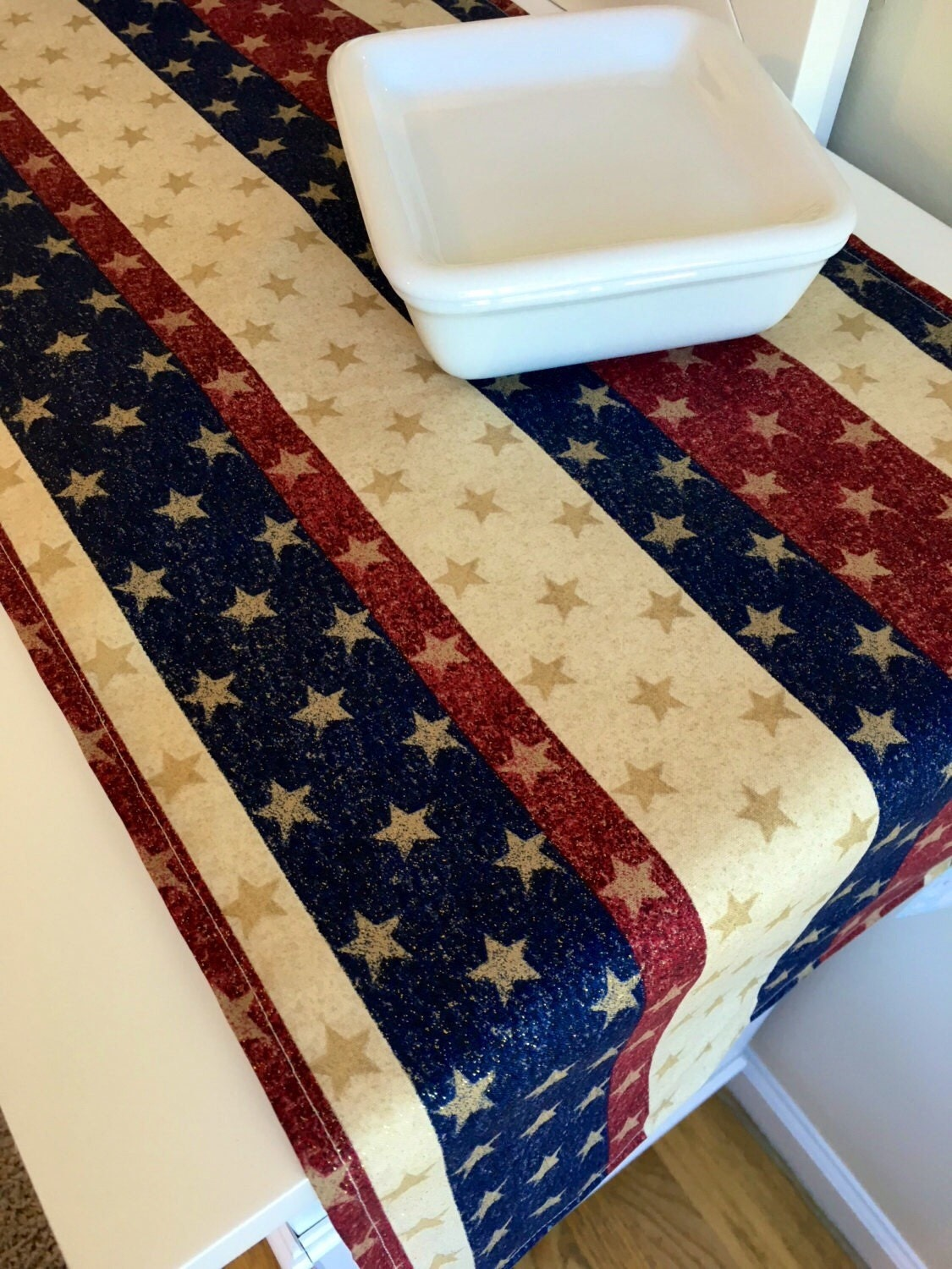 patriotic table runner table runner 36 90 by linensbymichele. Black Bedroom Furniture Sets. Home Design Ideas