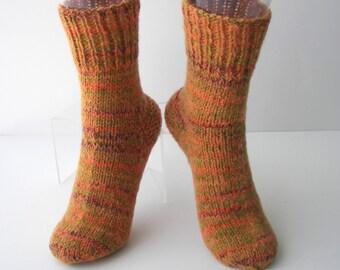 Hand Knit Seamless ALPACA Wool ART Socks in CORAL multi /Thoughtful Gift/ Cabin Wedding