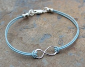 Infinite Love -Infinity Anklet or Bracelet -light aqua blue leather & sterling silver -sky blue and other colors available-zen, anniversary-