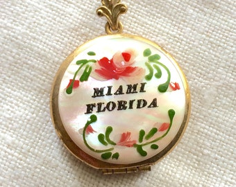 Vintage 1920s 1930s Rolled Gold Over Brass Locket Mother of Pearl hand painted Miami Florida Souvenir