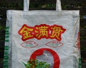 VALUE PRICED Repurposed Chinese Rice Bag Tote, Long or Short-handled Grocery, Market, Lunch, Tote or Gift Bag