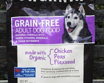 NEW LOW PRICE, 3 Pictures, 3 Sizes, Repurposed Recycled Upcycled Organix Dog Food Tote Bag,