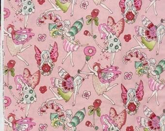 Alexander Henry flower fairies pink fabric XL long quarter yard