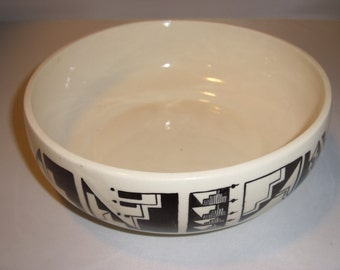 Ute Native American Pottery Bowl Black on White Contemporary