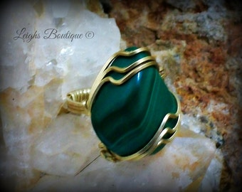 Crone Malachite Gemstone Copper Ring