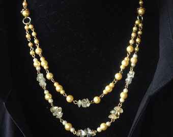 Yellow Agate, Pearl and Gold Multi-Strand Necklace & Earring Set - Mid Century  Modern - Vintage Inspired