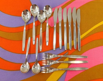 15 pc. Lot - Dror Israel - Modernist D2RD2R2 Pattern 18/8 Stainless Flatware - Partial Set Spoon Fork Knife