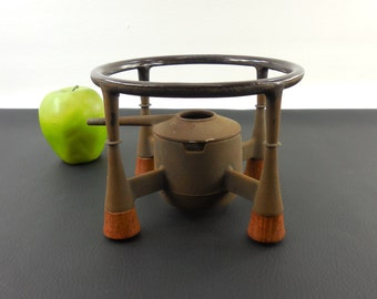 Dansk Designs denmark Quistgaard - Cast Iron Teak Burner Warmer Chafing Stand Fondue