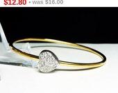 Monet Vintage Heart Bangle Bracelet - Clear Rhinestone Encrusted Heart - Retro Designer Signed Jewelry