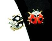 Two Ladybug Tack Pins - Red w Black Polkadots and Black with White Polkadots - Enamel & Rhinestone