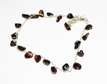 Sterling Silver & Garnet Ankle Bracelet - Modernist Gemstone Polished Rocks Dangling from Silver Links - Classic Charm Style