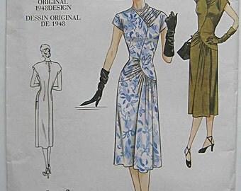 1948 Reproduction Misses' Dress, Vogue 2787 Sewing Pattern UNCUT Sizes 12-14-16