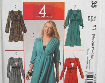 Women's Easy Dress in 3 Lengths and Camisole McCall's 5535 Sewing Pattern UNCUT Sizes 18W-24W