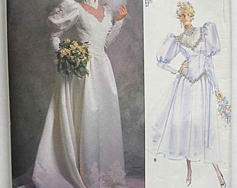 Misses' Wedding Dress in Two Lengths, Petticoat, Bridal Gown Vogue 2178 Sewing Pattern UNCUT Size 10