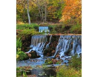 """Fine Art Color Photography Waterfalls in the Missouri Ozarks - """"Twink Waterfalls at Reed Spring in Autumn"""""""