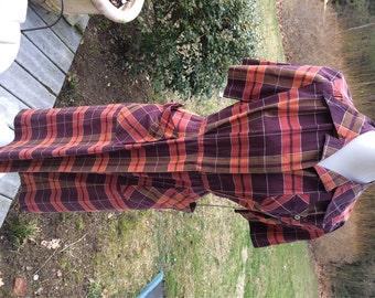 40s-50's Day Dress PLAID Shirtwaist Dress American Golfer Punk it up Rockabilly Street Style Mrs.Cleaver Look Vintage PLAID day dress