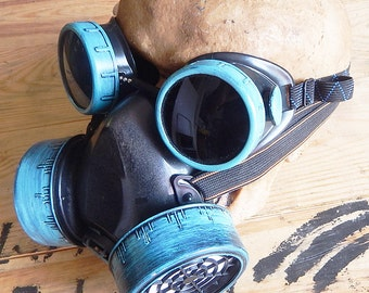 2 pc Back & Patina Green Steampunk Industrial Respirator Mask and Matching Goggles