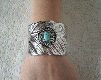 Feather Cuff Bracelet, southwestern jewelry southwest jewelry turquoise jewelry native american jewelry theme western jewelry country tribal