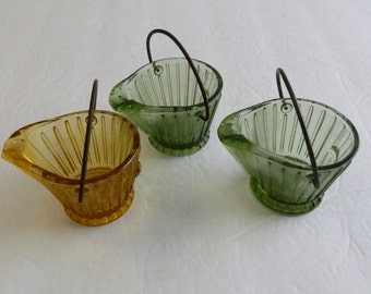 Glass Coal Bucket Ashtrays Wire Handle Continental Glass Co. 2 Green 1 Amber