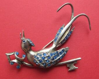 Antique Sterling Silver Blue Rhinestone Bird Brooch Pin Jewelry  Circa 1940