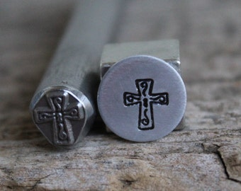 Cross Metal Design Stamp-LARGE 3/8 in 8mm-Steel Stamp-Metal Supply Chick-SS3754