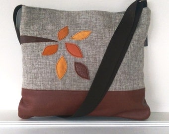 Large Linen and Leather Leaves
